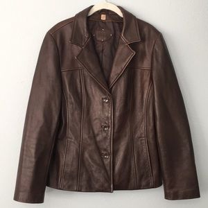 Brown Genuine Leather Jacket- Wilson Leather